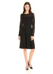 Vince Camuto Women's Long Sleeve Burnout Flare Sweater Dress  M