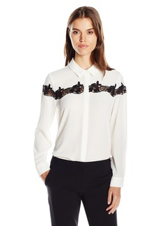 Vince Camuto Women's Long Sleeve Button Front Blouse with Lace Applique