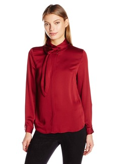 Vince Camuto Women's Long Sleeve Button Front Blouse with Side Neck Scarf