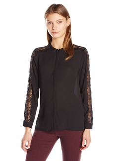 Vince Camuto Women's Long Button up Blouse with Sleeve Lace Trim