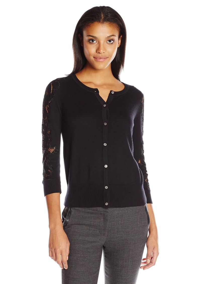 Vince Camuto Vince Camuto Women's Long Sleeve Cardigan with Lace ...