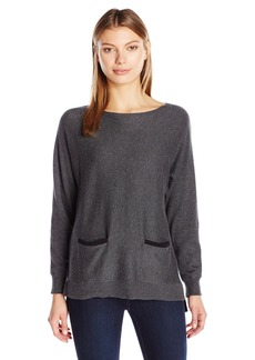 Vince Camuto Women's Long Sleeve Colorblock Boatneck Swtr with Front Pockets  Heather Grey