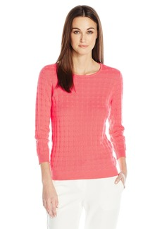 VINCE CAMUTO Women's Long Sleeve Dot Stitch Crewneck Sweater  M