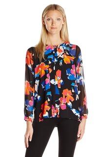 Vince Camuto Women's Long Sleeve Floral Rendezvous Keyhole Blouse  S