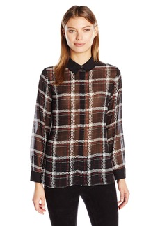Vince Camuto Women's Long Sleeve Harbor Plaid Button Front Blouse  Large