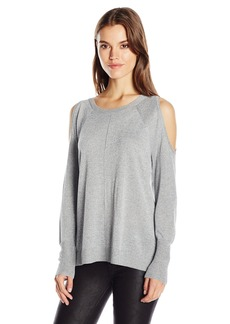 Vince Camuto Women's Long Sleeve Lurex Cold-Shoulder Sweater  L