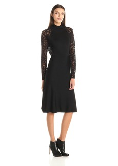 Vince Camuto Women's Long Sleeve Mock Neck Sweater Dress With Burnout Sleeves