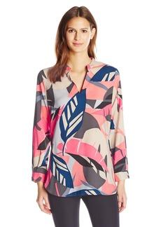 Vince Camuto Women's Long Sleeve Modern Tropics V-Neck Tunic  S
