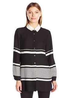 Vince Camuto Women's Long Sleeve Nautical Linear Stripe Button up Blouse