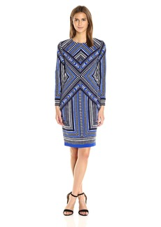 Vince Camuto Women's Long Sleeve Printed Bodycon Dress