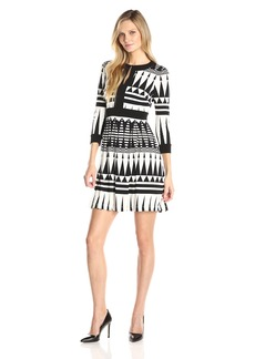 Vince Camuto Women's Long Sleeve Printed Fit and Flare Dress with Leather Detail