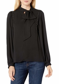 Vince Camuto Women's Long Sleeve Puff Shoulder Embellished Tie Front Blouse  Extra Small
