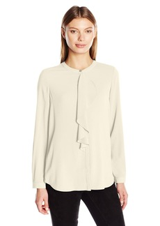 Vince Camuto Women's Long Sleeve Ruffle Front Blouse  X-Large
