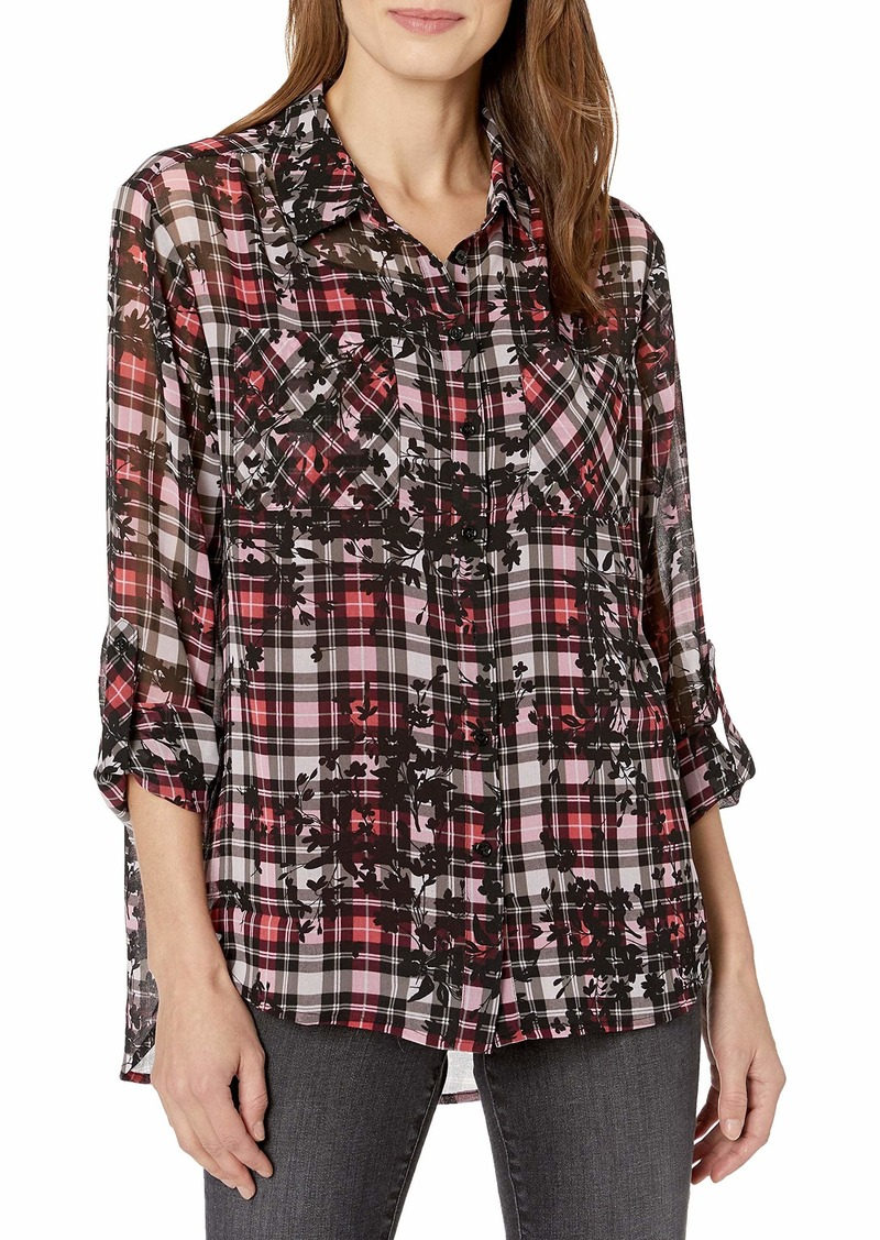 Vince Camuto Women's Long Sleeve Silhouette Plaid Two Pocket Shirt