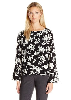Vince Camuto Women's Long Sleeve Small Fresco Blooms Fold Over Blouse