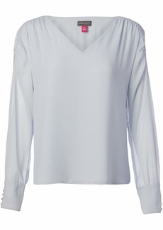 Vince Camuto Women's Long Sleeve Smocked Shoulder V-Neck Blouse  Extra Small