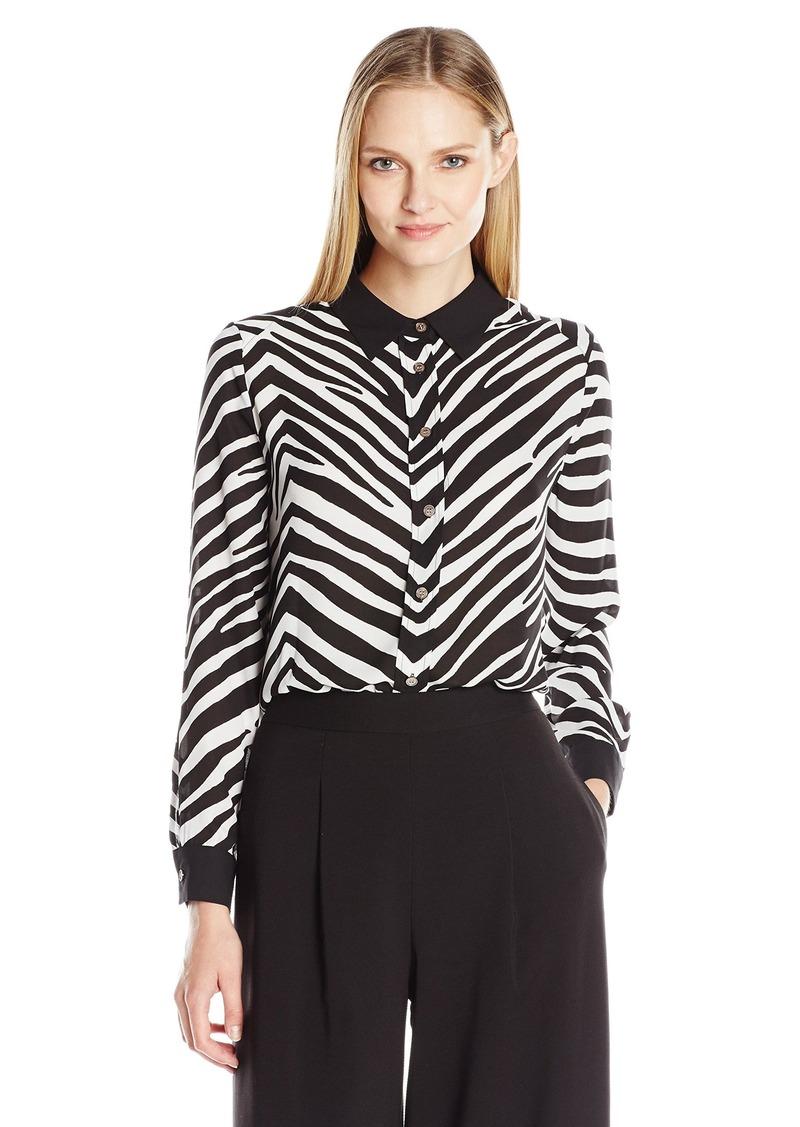 Vince Camuto Women's Long Sleeve Smooth Zebra Button Front Blouse  edium