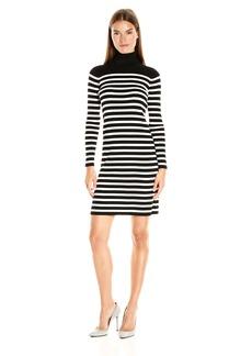 Vince Camuto Women's Long Sleeve Stripe Turtleneck Sweater Dress
