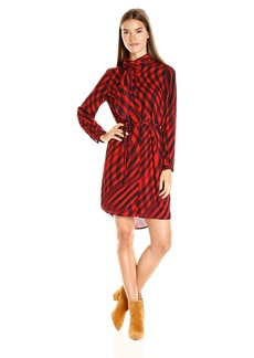 Vince Camuto Women's Long Sleeve Swept Check Belted Dress with Neck Scarf
