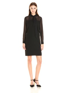 Vince Camuto Women's Long Sleeve Tie Neck Dress with Chiffon Sleeves and Yoke