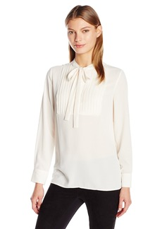 Vince Camuto Women's Long Sleeve Tie Neck Pleated Tuxedo Blouse  Large