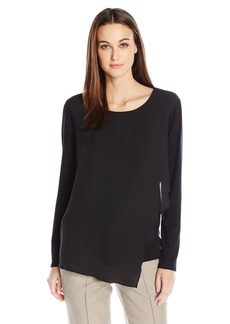 Vince Camuto Women's Long Sleeve Top with Asymmetrical Chiffon Overlay  L