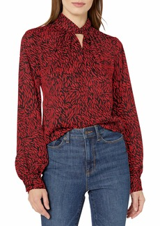 Vince Camuto Women's Long Sleeve Twist Neck Drifting Petals Blouse  Extra Large