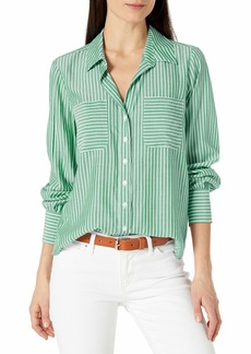 Vince Camuto Women's Long Sleeve Two Pocket Pinstripe Refresh Button Down Blouse  Extra Small