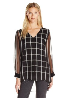Vince Camuto Women's Long Sleeve V-Neck Stripe Duet Blouse with Knit Underlay  XL