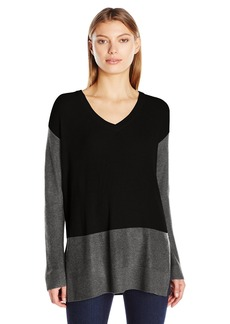 Vince Camuto Women's Long Sleeve V-Neck Waffle-Stitch Colorblock Sweater  Medium