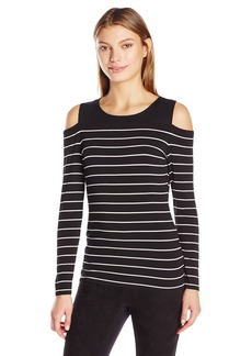 Vince Camuto Women's Long Sleeve Willow Stripe Cold-Shoulder Top  X-Small