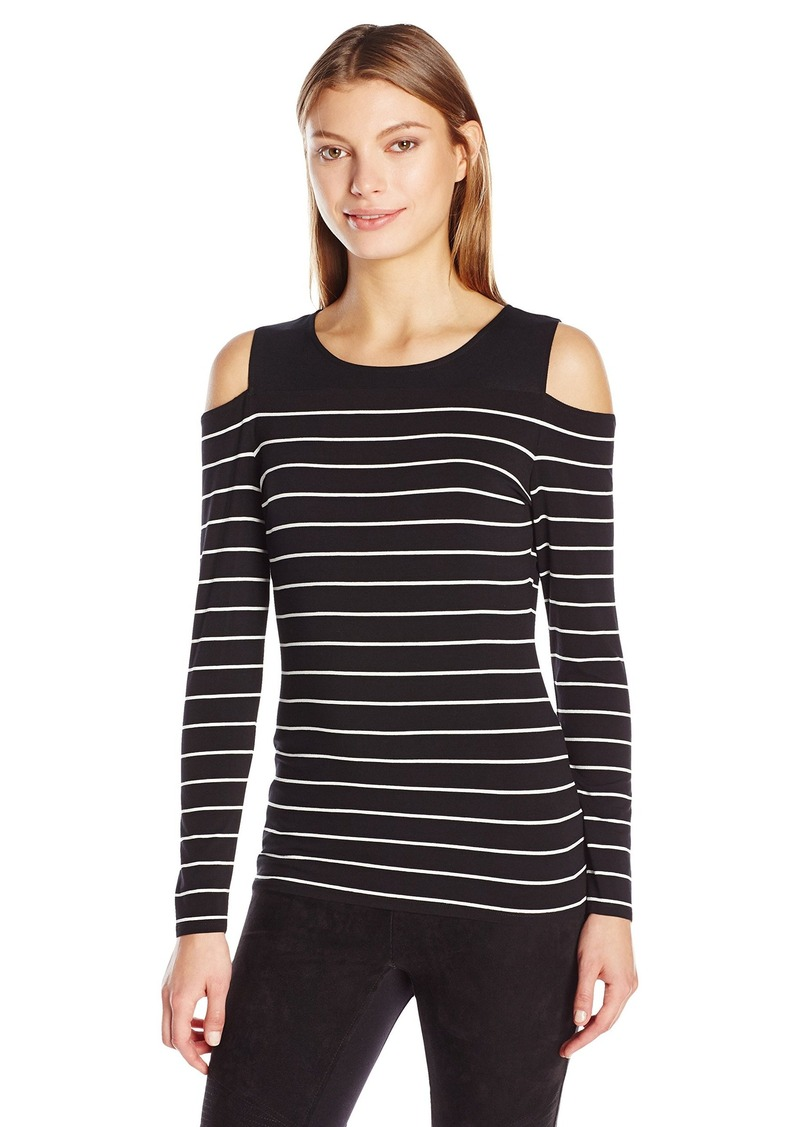 cb42c778450bfc Vince Camuto Women s Long Sleeve Willow Stripe Cold-Shoulder Top X-Small