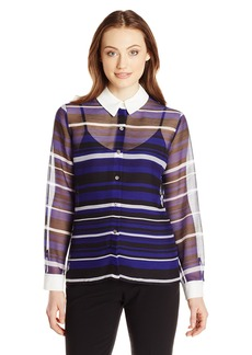Vince Camuto Women's Long-Sleeve Zen Multi-Stripe Blouse  X-Small