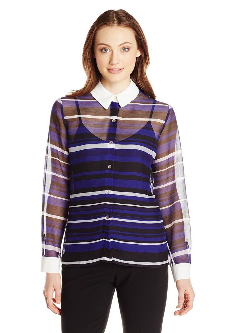 ad251ae68153c9 Vince Camuto Vince Camuto Women s Long-Sleeve Zen Multi-Stripe ...