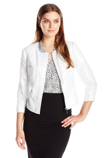 Vince Camuto Women's L/s Collarless Foiled Linen Jacket