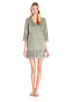Vince Camuto Women's L/s Laser Cut Faux Suede V-Nk Dress