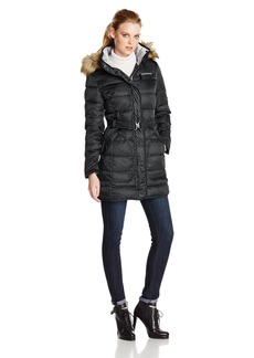 Vince Camuto Women's Mid-Length Down Coat with Belt and Faux Fur Trim