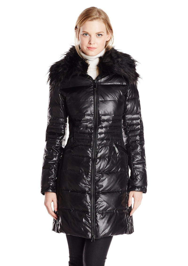 Vince Camuto Women's Mid-Length Down Coat with Faux Fur Collar