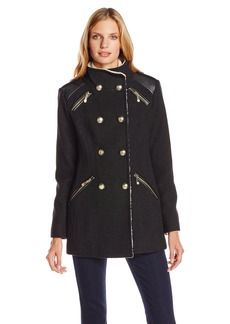 Vince Camuto Women's Military Double Breasted Wool Coat with Sherpa Lining