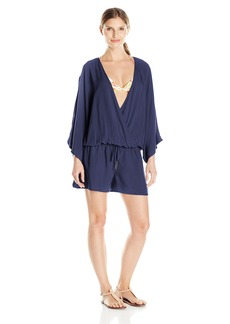 Vince Camuto Women's Milos Solids Dolman Sleeve Drawstring Waist Romper Cover up