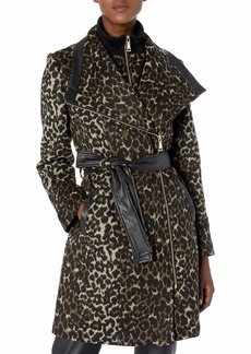 Vince Camuto Women's Mixed Fabric Wool Coat  L