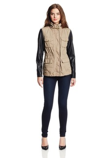 Vince Camuto Women's Mixed Media Anorak Jacket with Perforated Pu Sleeves