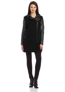 VINCE CAMUTO Women's Mixed-Media Moto Wool Coat