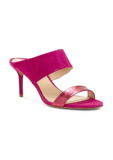 VINCE CAMUTO Women's Navinta Suede & Leather Mid Heel Slide Sandals