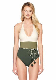 Vince Camuto Women's One Piece Swimsuit with Color Block Detail Sun Palm