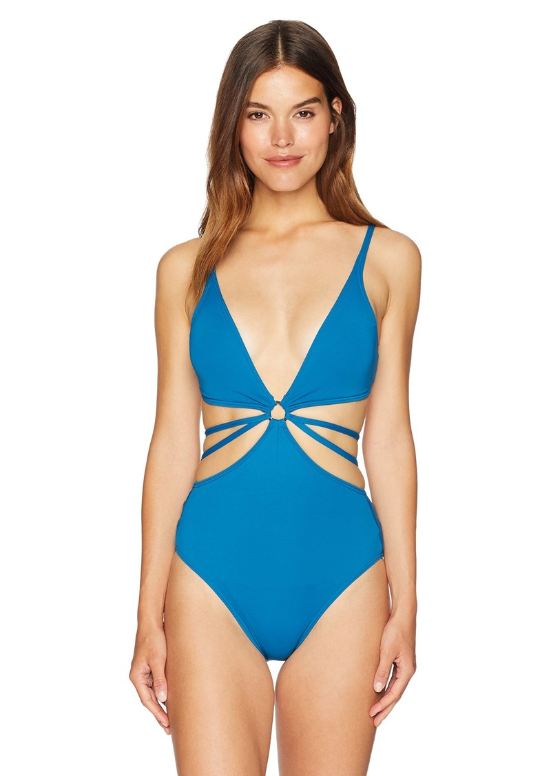 Vince Camuto Womens Side Lace U-Neck One Piece Swimsuit
