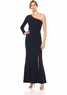VINCE CAMUTO Women's One Shoulder Long Sleeve Gown