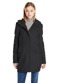 Vince Camuto Women's Oversize Wool Coat with Quilted Sleeves