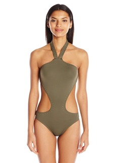 Vince Camuto Women's Pacific Coast Studded High Neck Monokini One Piece Swimsuit