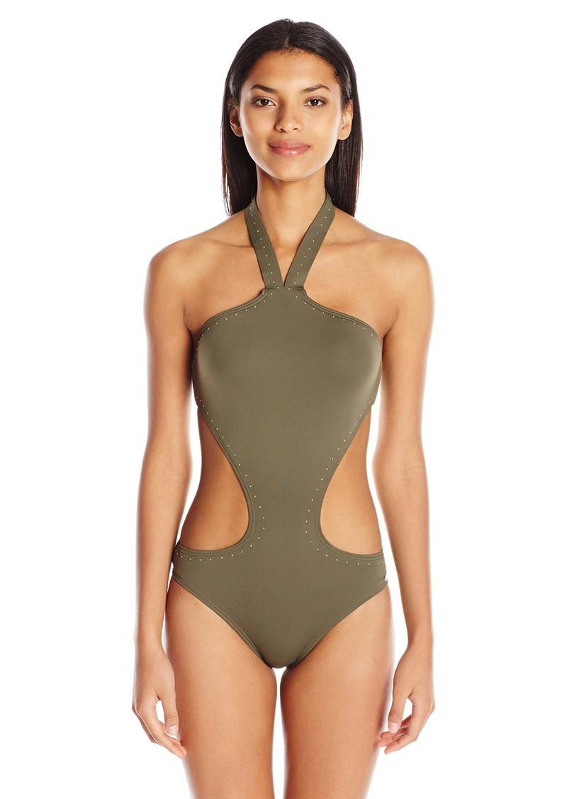 a84873e03bb Vince Camuto Women's Pacific Coast Studded High Neck Monokini One Piece  Swimsuit
